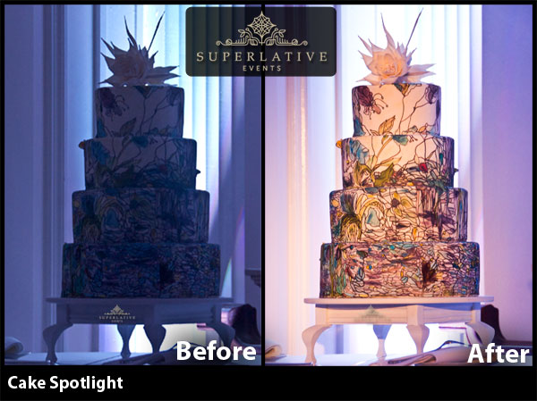 wedding cake spotlight before and after
