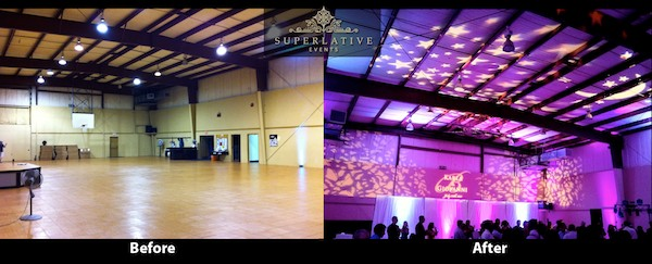 fairfax police association gym hall wedding lighting