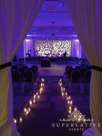 Washington Post Conference Center Wedding Lighting Purple Candles
